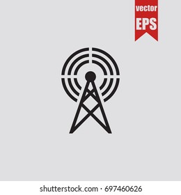 Antenna icon in trendy isolated on grey background.Vector illustration.