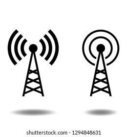 Antenna icon vector set or wireless communication,transmitter tower flat sign symbols logo illustration isolated on white background beautiful black color.Concept graphic design for web and mobile.
