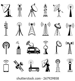 antenna icons, communication icons, satellite dishes
