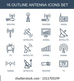 antenna icons. Trendy 16 antenna icons. Contain icons such as router, , radio, satellite, signal, TV. antenna icon for web and mobile.