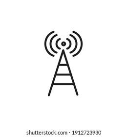 Antenne, signe de style linéaire pour le concept mobile et le web design. Symbole, illustration logo sur fond blanc. Images vectorielles au pixel près