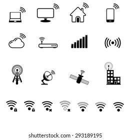 Antenna, radio signal icon set