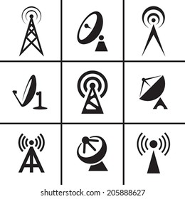 Antenna and satellite dish icons set vector illustration