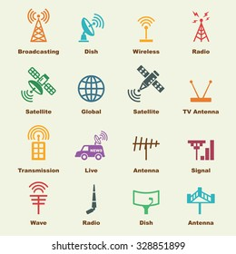 antenna and satellite elements, vector infographic icons