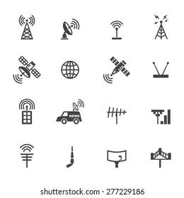 antenna and satellite icons, mono vector symbols
