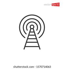 Antenna Signal Icon Design Vector Template
