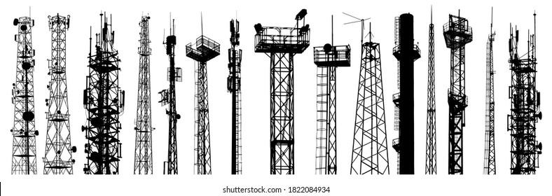 Antenna silhouettes set. Isolated on white background