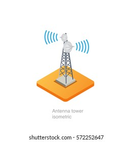 Antenna tower isometric, vector