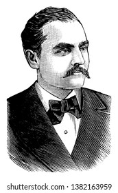Anthony Comstock, 1844-1915, he was a United States Postal Inspector and politician dedicated to ideas of Victorian morality, famous for the terms Comstockery and Comstockism, vintage line drawing