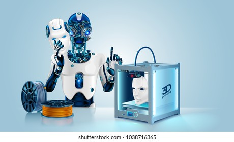 Anthropoid robot printed mask on 3d printer. Cyborg with Artificial intelligence hide metal head and brain under mask. 3d printing technology help robot create prototype humanoid face. Filament coil.