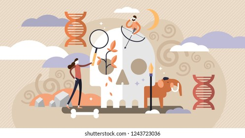 Anthropology vector illustration. Ancient mini persons concept with skull, bones and mammoth. DNA and paleolithic research for neanderthal or prehistoric testimonies. Educational culture exploration.