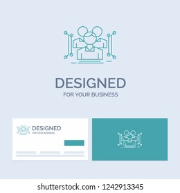 Anthropometry, body, data, human, public Business Logo Line Icon Symbol for your business. Turquoise Business Cards with Brand logo template