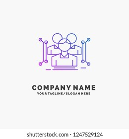 Anthropometry, body, data, human, public Purple Business Logo Template. Place for Tagline
