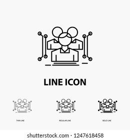 Anthropometry, body, data, human, public Icon in Thin, Regular and Bold Line Style. Vector illustration