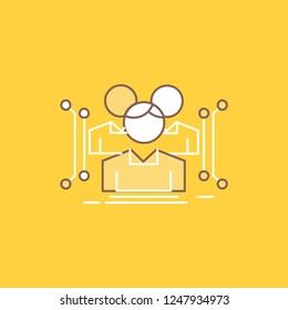 Anthropometry, body, data, human, public Flat Line Filled Icon. Beautiful Logo button over yellow background for UI and UX, website or mobile application