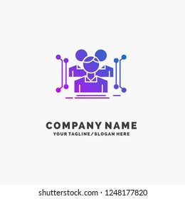 Anthropometry, body, data, human, public Purple Business Logo Template. Place for Tagline.