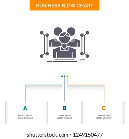 Anthropometry, body, data, human, public Business Flow Chart Design with 3 Steps. Glyph Icon For Presentation Background Template Place for text.