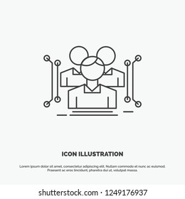 Anthropometry, body, data, human, public Icon. Line vector gray symbol for UI and UX, website or mobile application