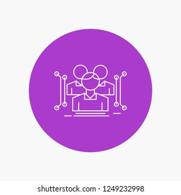 Anthropometry, body, data, human, public White Line Icon in Circle background. vector icon illustration
