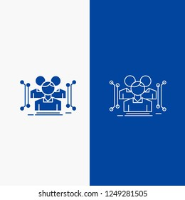 Anthropometry, body, data, human, public Line and Glyph web Button in Blue color Vertical Banner for UI and UX, website or mobile application