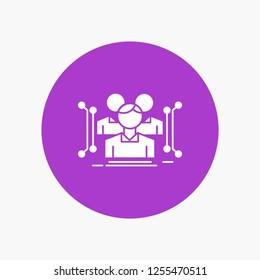 Anthropometry, body, data, human, public White Glyph Icon in Circle. Vector Button illustration