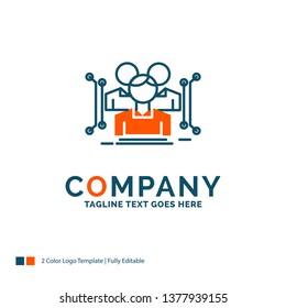 Anthropometry, body, data, human, public Logo Design. Blue and Orange Brand Name Design. Place for Tagline. Business Logo template.