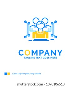 Anthropometry, body, data, human, public Blue Yellow Business Logo template. Creative Design Template Place for Tagline.