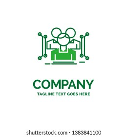 Anthropometry, body, data, human, public Flat Business Logo template. Creative Green Brand Name Design.