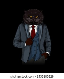 Anthropomorphic cat dressed in elegant suite with red tie on black background, hand drawn sketchy vector illustration. Poster, apparel, greeting card.