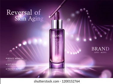 Anti aging cosmetic ads with glowing helix structure behind the droplet bottle in 3d illustration