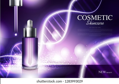 Anti aging cosmetic product poster, bottle package design with moisturiser cream, dna or liquid, sparkling background with glitter polka, vector design.