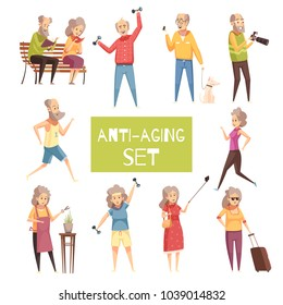 Anti aging isolated icons set with elderly people traveling walking with pet jogging reading in park flat vector illustration