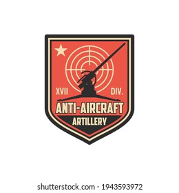 Anti aircraft artillery isolated military chevron with armored vehicle, target aim. Vector air defense, warfare seal on office uniform, infantry squad with anti-aircraft machine, tank tracks operation