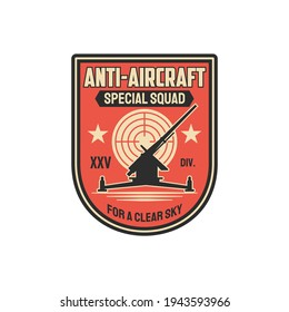 Anti aircraft artillery special squad for clear sky isolated military chevron. Vector infantry troops machine, tank tracks operation. Armored vehicle, target aim, air defense, seal on office uniform