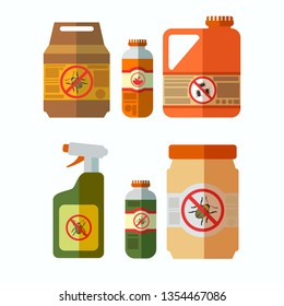 Anti Bug, Pesticides Bottles Illustrations Set. No Beetle, Bug Sign. Insecticide, Herbicide Sprayer. Poisonous Chemicals in Plastic Canister. Toxic Liquid in Cans Flat Cliparts Pack. Plant Care Supply