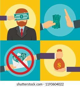 Anti corruption greedy banner set. Flat illustration of anti corruption greedy vector banner set for web design