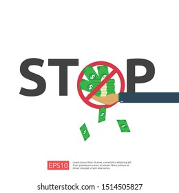 Anti Corruption, Stop and corrupt decline concept. Business bribe with money in an envelope and prohibition warning sign. vector illustration in flat style for banner, background, and presentation