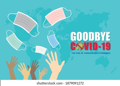 Anti Covid-19 concept art or copy space. Goodbye, end of Covid-19 coronavirus pandemic. The liberation of wearing face mask. People are taking off or throwing face mask. Flat vector illustration.