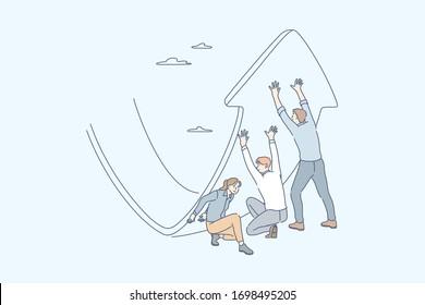 Anti crisis strategy, investment management, raising profit, business concept. Team, young business people men women change stock price. Raising profit anti crisis business strategy, teamwork, startup