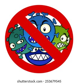 Anti disease sign with funny cartoon virus.