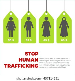 Anti human trafficking campaign vector template