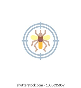 Anti insect repellent flat icon, vector sign, colorful pictogram isolated on white. Mosquitoes target symbol, logo illustration. Flat style design