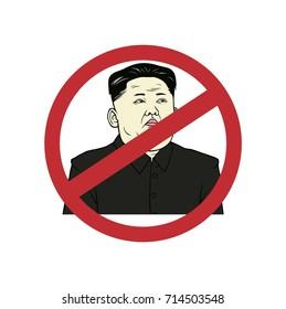 Anti Kim Jong-un, Flat Design Vector Art Illustration. September 13, 2017