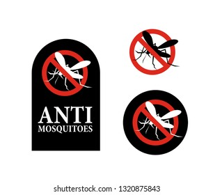 Anti Mosquito warning prohibited sign. insect control vector symbol. Stop and control mosquito, anti insect illustration