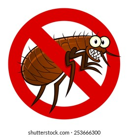 Anti parasite sign with a funny cartoon flea.