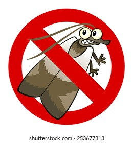 Anti pest sign with a funny cartoon moth.