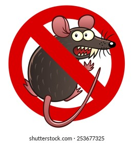 Anti pest sign with a funny cartoon mouse.