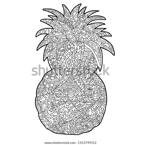 Anti Stress Pineapple Coloring Page Patterns Stock Vector (Royalty Free)  1353749312