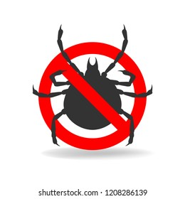 Anti tick simple sign for insecticide. Vector icon