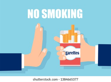 Anti tobacco healthy lifestyle concept. Vector of a man hand rejecting cigarette offer.